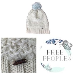 Free People White Wool Blend Knit Pom Beanie